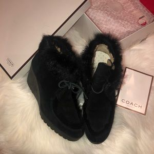 Coach Suede Ankle Wedge Booties 6